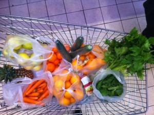 Voici mon panier de courses pour deux-trois jours pour préparer mes jus de fruits et mes jus de légumes.