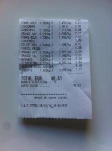 Mon ticket de caisse d'achat de mes fruits et légumes pour préparer ms jus de légumes frais et mes jus de fruits frais