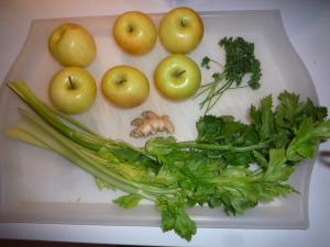 Les ingrédients pour mon jus pomme-céleri