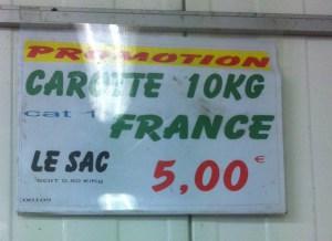 prix carottes pour jus de légumes