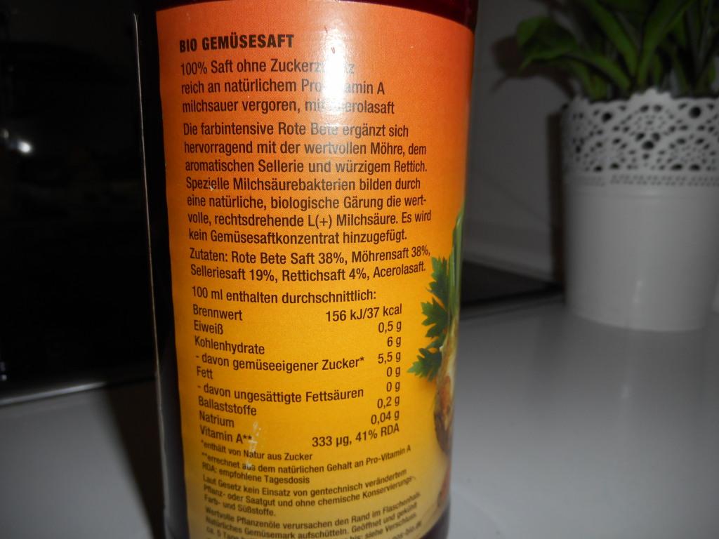 La composition du jus de légumes
